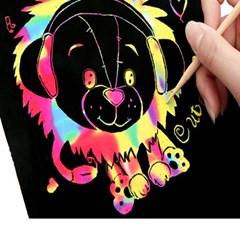 레인보우 스크래치 페이퍼 세트 무지개 종이 미술 스케치 데코소품