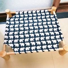 강아지고양이 방석 쿠션 원목침대(아기곰 네이비)