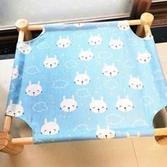 강아지고양이 방석 쿠션 원목침대(토끼 블루)