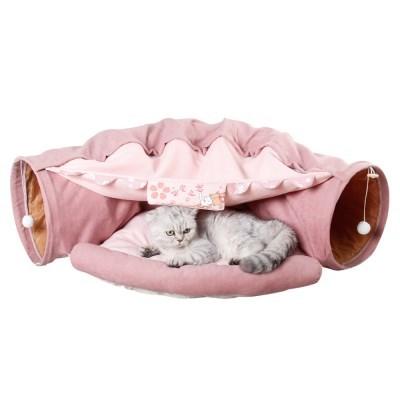강아지 고양이 숨숨 편안한 침대 터널 (핑크)