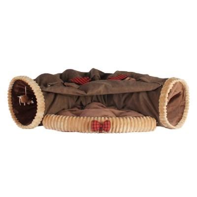 강아지 고양이 숨숨 안락한 침대 터널 (브라운)