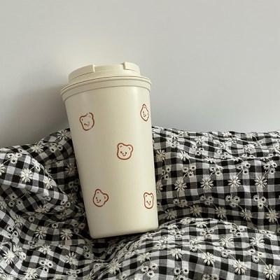 큐피드곰 패턴 텀블러 453ml