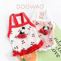 도그웨그 체리 크롭탑 강아지 민소매 나시 여름 옷