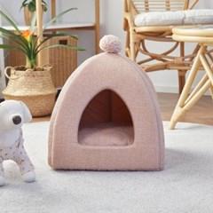 [모던하우스] 펫본 폼폼인테리어 하우스 핑크 양면방석