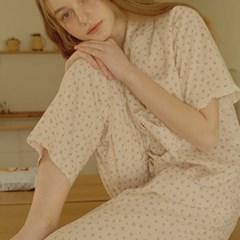 [울랄라파자마] 안느 노브라 반팔 여성페어 크림