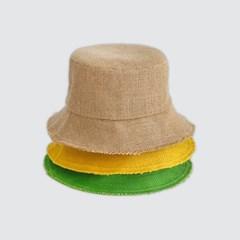 키즈 린넨 밀짚 여름 벙거지 버킷햇 와이어 챙 유아동 주니어 모자