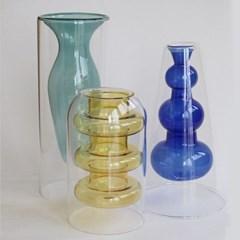 3 Color glass vase