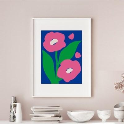 일러스트 꽃 그림 액자 핑크페탈