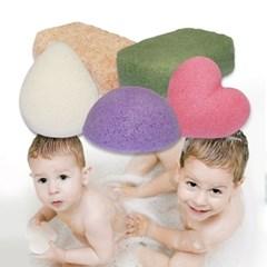 천연 곤약 순식물성 스펀지 아기 목욕 스펀지1+1
