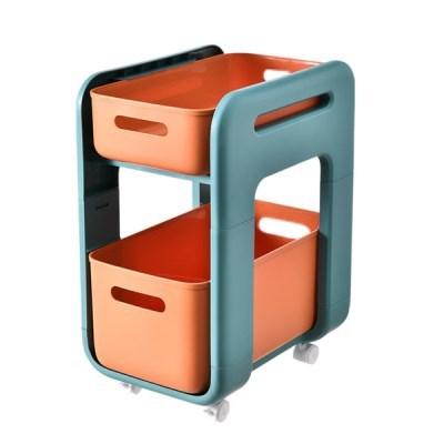 서랍형주방 욕실 바퀴형 이동식 선반(롱 바퀴형 오렌지 바퀴O)