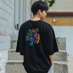 빅사이즈 컬러풀 타이거 오버핏 반팔 티셔츠 BE53057