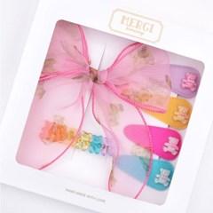 메르시밴드 샤이베어 핑크 아동 헤어핀 선물세트 (6P)