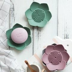 파스텔 실리콘 연꽃 비누받침 2p set 4color