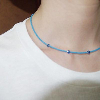 blue_sapphire_neck 심플 블루 비즈목걸이