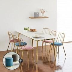[상도가구]리즈 포세린 세라믹식탁 골드 W1800  6인식탁의자세트