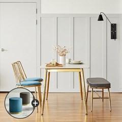 [상도가구]리즈 포세린 세라믹 W1500골드식탁세트(의자2벤치1)