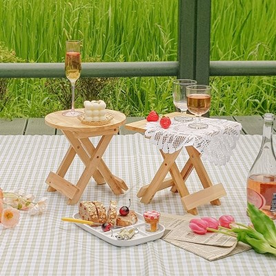 로코코 미니 접이식 나무의자 2type 택1 / 피크닉테이블 캠핑 스툴