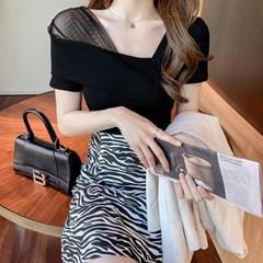겟잇미 브쥬 여성 사선 셔링 반팔 티셔츠