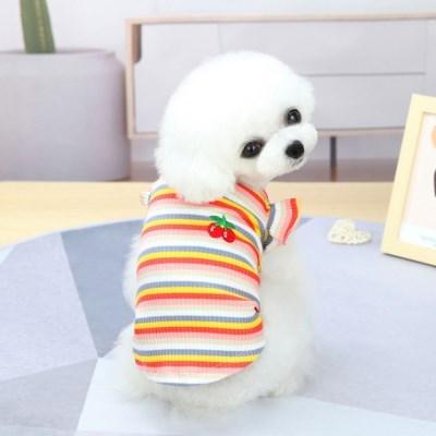 강아지 나시프릴 체리 사계절 귀여운 공주옷