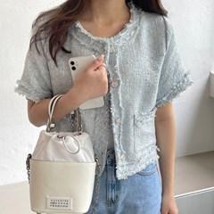 겟잇미 소니 산뜻 반팔 트위드 노카라 자켓