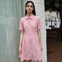 팬시 트위드 핑크 셔츠 원피스 _ Fancy Tweed Pink OP
