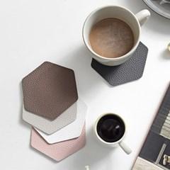 푸코 인조가죽 헥사곤 컵받침 코스터 4개세트(5colors)_(2226044)