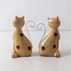 하트 꼬리 땡땡이 도자기 고양이 2P 세트 c