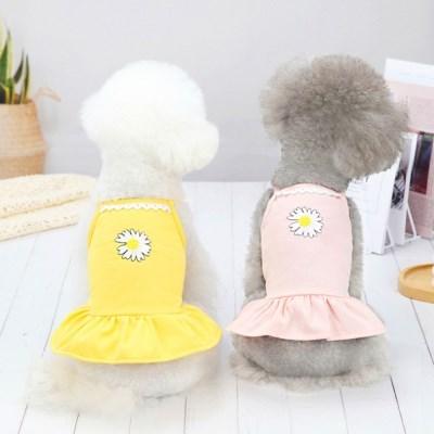 강아지 나시 스커트 면옷 여름옷 민소매 원피스
