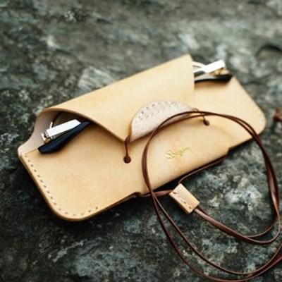 [주문제작]목걸이 안경케이스 Natural - Pueblo Leather (무료각인)