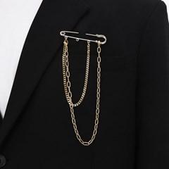 옷핀 브로치 골드 체인 패션 CLEF GOLD CHAIN Broch