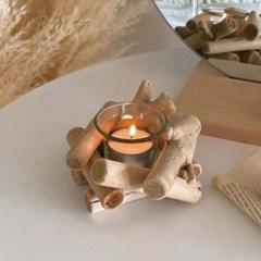 모닥불 디자인 티라이트 캔들 유리 홀더 인테리어 장식 소품