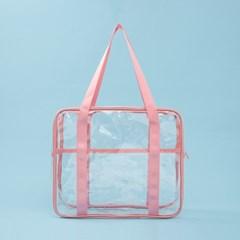 컬러팝 방수 투명 비치백(핑크)