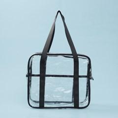 컬러팝 방수 투명 비치백(블랙)