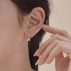 실버925 미니 데일리 심플 크리스탈 큐빅 귀걸이 (귀찌 가능)