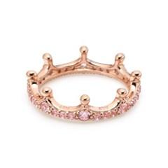판도라 187087NPO 스파클링 핑크 크라운 왕관 로즈 반지