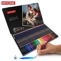 Nyoni 36색 수채화 색연필 철제틴케이스