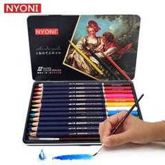 Nyoni 12색 수채화 색연필 철제틴케이스