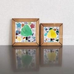 유리조각 컵받침만들기-나무
