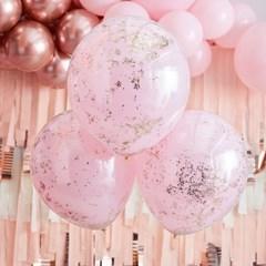 [빛나파티]핑크 로즈골드 글리터 컨페티 이중 풍선 세트 45cm 3개