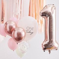 [빛나파티]핑크, 로즈골드 첫번째 생일 돌잔치 풍선 10개 세트