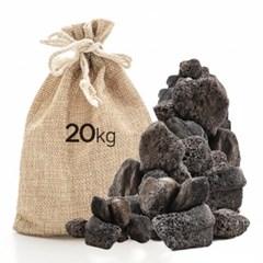 미미네스톤 세척 화산석블랙 20kg전후 (크기모양랜덤)_(1301792)