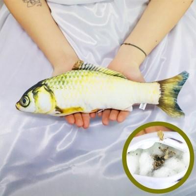 물고기 고양이 캣닢 장난감 용품 30cm (황녹붕어)_(301872923)