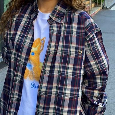 베어 래빗 체크 오버 셔츠 네이비 아이보리