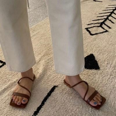 여성 여성 가죽 스퀘어토 스트랩 플랫 샌들 슬리퍼 DONA-7698