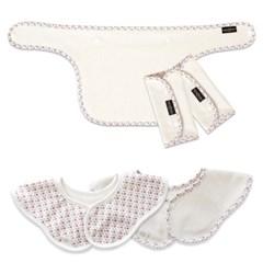 꿈두부 아기띠 침받이 바이어스&패턴 롤링턱받이 3종세트