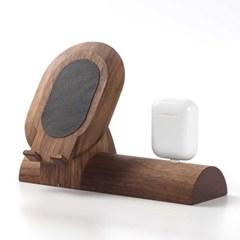 원목 휴대폰+에어팟 거치대 2in1
