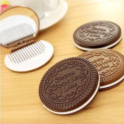 휴대용 미니 거울빗 세트 코코아 쿠키 과자모양 원형 손거울