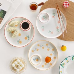 플라워 나눔 플레이트 3color / 만두접시 찬기 초밥 소스접시