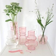 버블 볼록 핑크 유리화병