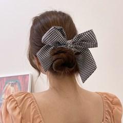 깅엄 체크 리본 헤어끈 곱창끈 당고머리끈